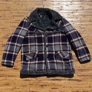 Vintage Fingerhut Sherpa Plaid Flannel Men's XL 46
